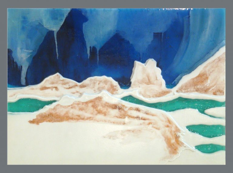 Carved glass panel: Columbia Ice Fields