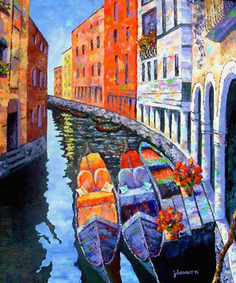 Double Parked in Venice painting
