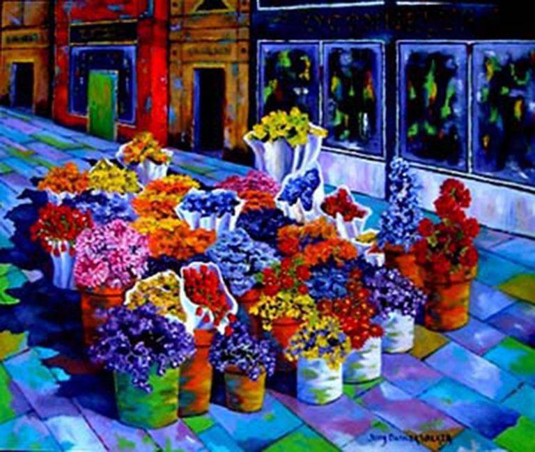 Dublin Flower Market painting