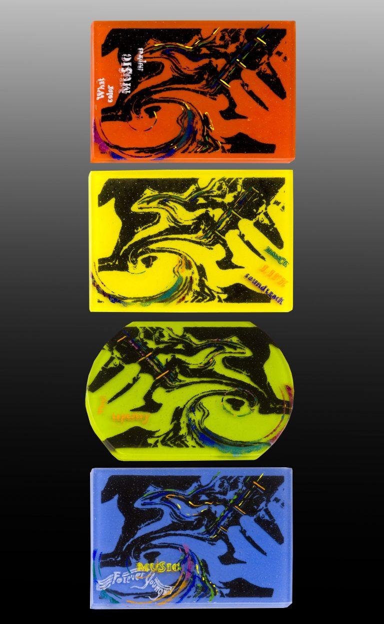 4 painted glass panels with music theme