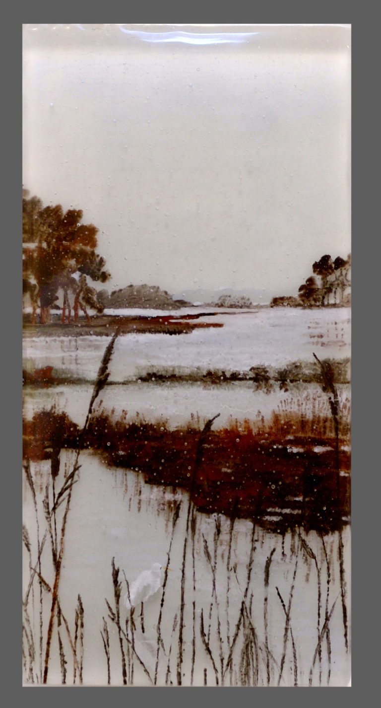 Marshes at Dawn painted glass panel