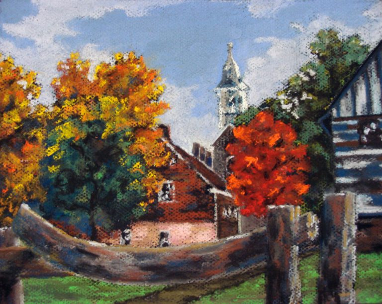 Painting of Old Salem NC