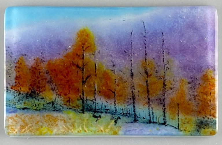 Through the Woods painted glass panel