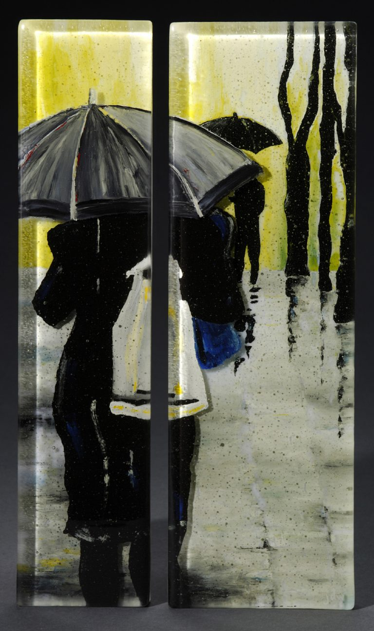 Undercover, Diptych painted glass panel